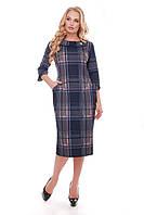 Трикотажное платье с карманами Мэри клетка пудра