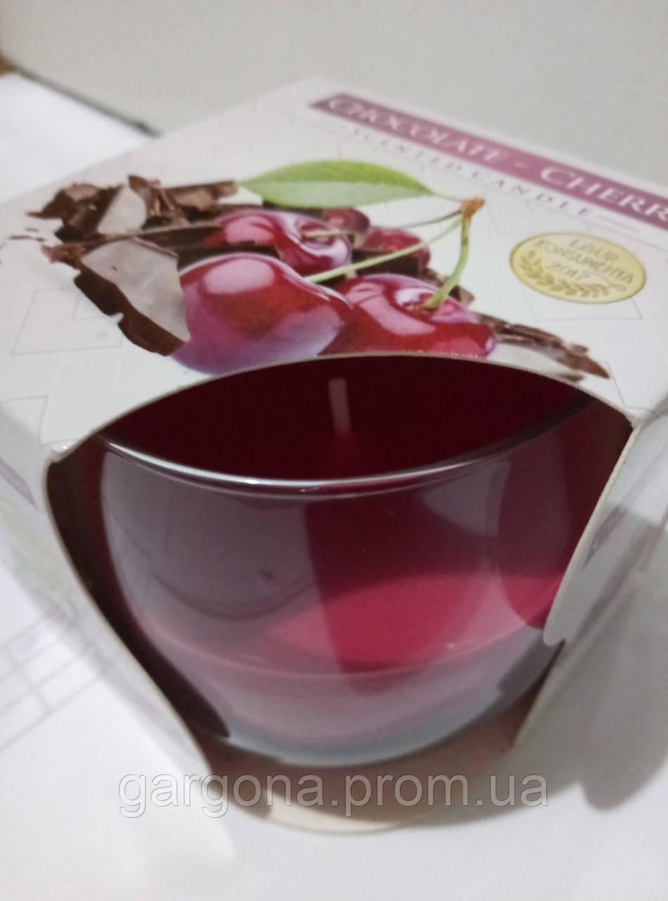 """Ароматическая свеча в стекле """"шоколад-вишня"""""""