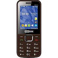 Кнопочный мобильный телефон на 2 сим карты Maxcom MM141 коричневый