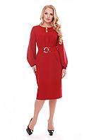Нежное платье с поясом Екатерина бордо