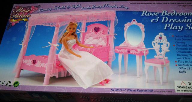 Кукольная мебель Глория 2614 Спальня Барби - кровать с балдахином