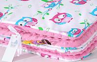 Плед детский плюшевый BabySoon Нежные совушки на розовом плюше 80 х 85 см (210)