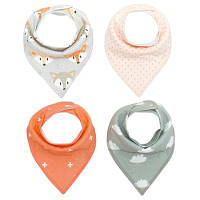 ZETOM Soft Organic Absorbent Cotton Cute Patterns Baby Bandana Drool Bibs для Drooling and Teething 4-Pack