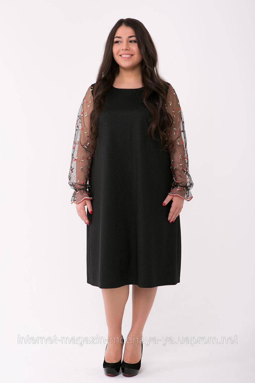 """Коктейльное платье """"Джоан"""" р. 56-60 черный"""