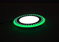 "LED панель Lemanso ""Точечки"" LM537 круг  3+3W зелёная подсв. 350Lm 4500K 85-265, фото 1"
