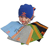 """Шапка детская для мальчиков """"Adidas-оранж"""" 4-8 лет одинар. трикотаж Оптом"""
