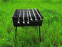 Мангал раскладной в чемодан 2мм с ножками на 6 шампуров