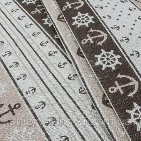 Гобелен ткань, морская тематика, коричневый