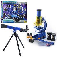 Микроскоп CQ 031 (18шт) 19,5-11-7см,телескоп 43,5-13-5,5см,стекла6шт,пробирки,в кор-ке, 44-39-8см