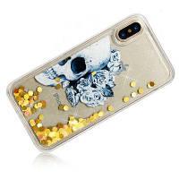 Скелет динамический жидкий блеск песка Quicksand Мягкий чехол для iPhone TPU для iPhone X Золотой
