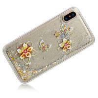 Золотая бабочка Динамический жидкий блеск Песок Quicksand Мягкий чехол для iPhone TPU для iPhone X Золотой