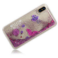 Розовый бабочка Динамический жидкий блеск песка Quicksand Мягкий чехол для iPhone TPU для iPhone X Розовый