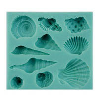 Красивые экологически чистые Sea Shell Conch Силиконовые 3D посуда Обеденный бар Non-Stick подарок Fondant Мыло Формы bakewear инструменты Зелёный
