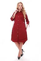 Модное платье из хлопка Евгения бордовое