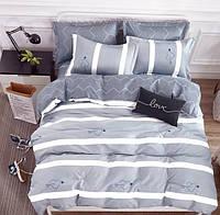Серое постельное белье с сердечками B-0107
