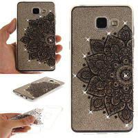 Black Half Flower Diamond Мягкая прозрачная IMD TPU Корпус для телефона Мобильный смартфон Чехол для Samsung A3 2016 A310 Чёрный