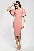 Женское Шикарное приталенное платье нежного цвета пудра, цвет: пудра