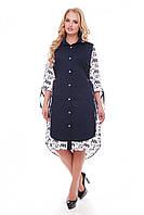 Летнее платье из хлопка Евгения синее с буквами
