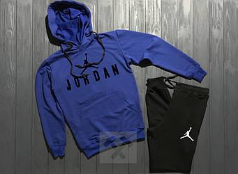 Спортивный костюм Jordan синего и черного цвета (люкс копия)