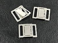 Застежка для купальника 15 мм цвет серебро нержавейка .