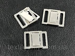 Застібка для купальника 15 мм колір срібло нержавійка .
