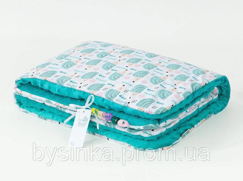 Плед детский плюшевый BabySoon Мятные ежики 78 х 85 см плюш бирюзовый (351)