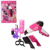 Набор парикмахера LM5517 (48шт) фен(на бат-ке),ножницы,расческа2шт,зеркало,флакон,в слюде,26-36-6см