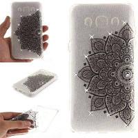 Black Half Flower Diamond Мягкая прозрачная IMD TPU Корпус для мобильного телефона Смартфон Чехол Shell для Samsung J5 J510 2016 Чёрный