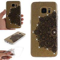 Black Half Flower Diamond Soft Clear IMD Корпус для телефона TPU для мобильного телефона Смартфон Корпус для Samsung S7 Edge