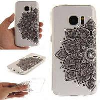 Black Half Flower Diamond Мягкая прозрачная IMD TPU Корпус для мобильного телефона Смартфон Корпус для Samsung S7
