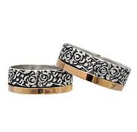 (Пара) Серебряные обручальные кольца с золотыми пластинами Цветы в тебе / Mz 073к