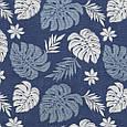 Гобелен ткань, листья монстеры, синий, фото 2