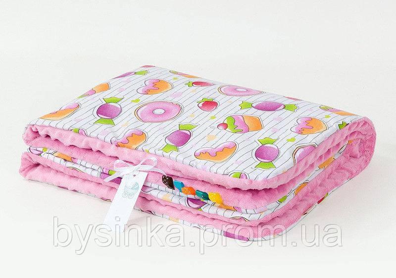 Плед детский плюшевый BabySoon Конфетки 78 х 85 см плюш розовый (355)