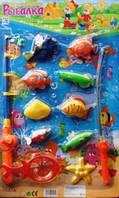 Рыбалка M 0041 U/R рыбки 9шт, удочки 2шт, сачок, на листе, 58-36-3см