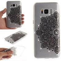 Black Half Flower Diamond Мягкий прозрачный IMD Корпус для телефона TPU Мобильный смартфон Чехол для Samsung S8