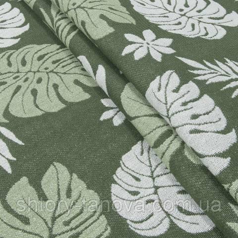 Гобелен ткань, листья монстеры, зелёный