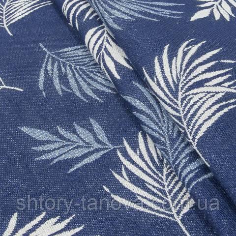Гобелен ткань, листья папоротника, синий