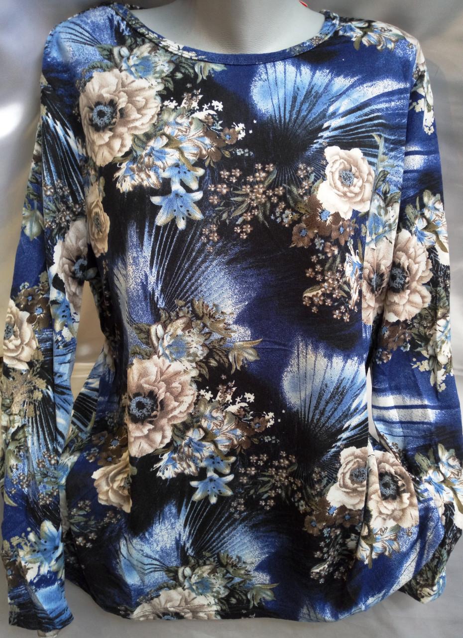 Блуза с цветочным принтом женская батальная (тонкий кашемир)