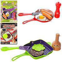 Посуда P3012-P2910 (192шт) сковородка, спецовница, продукты, 2 вида(2цвета), на листе, 21-28-3см