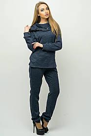 Женский стильный спортивный костюм с капюшоном Крокус / размер 44-54 / цвет синий