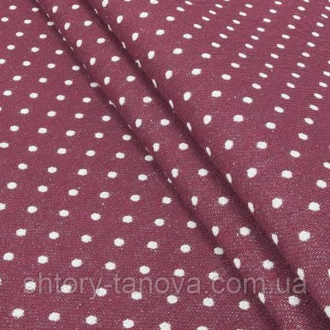 Гобелен ткань, горошек, бордовый