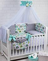 """Набор детской постели для новорожденных 8 эл-в """"Мятные слоники и серые звёзды"""", № 281"""