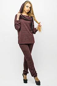 Женский стильный спортивный костюм с капюшоном Крокус / размер 44-54 / цвет бордо
