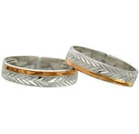 (Пара) Серебряные обручальные кольца с золотыми вставками Мишель / Mz 055к