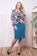 Платье бирюзовое Весна р 52-62, фото 1