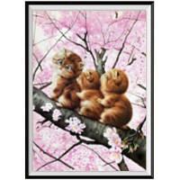 NAIYUE K048 Три кошки Животное Печать Алмазная живопись Алмазная вышивка Коричневый