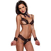 Эротический кружевной комплект с наручниками   эротическое белье Dear Lover Olivia S/M/L Черный, фото 1