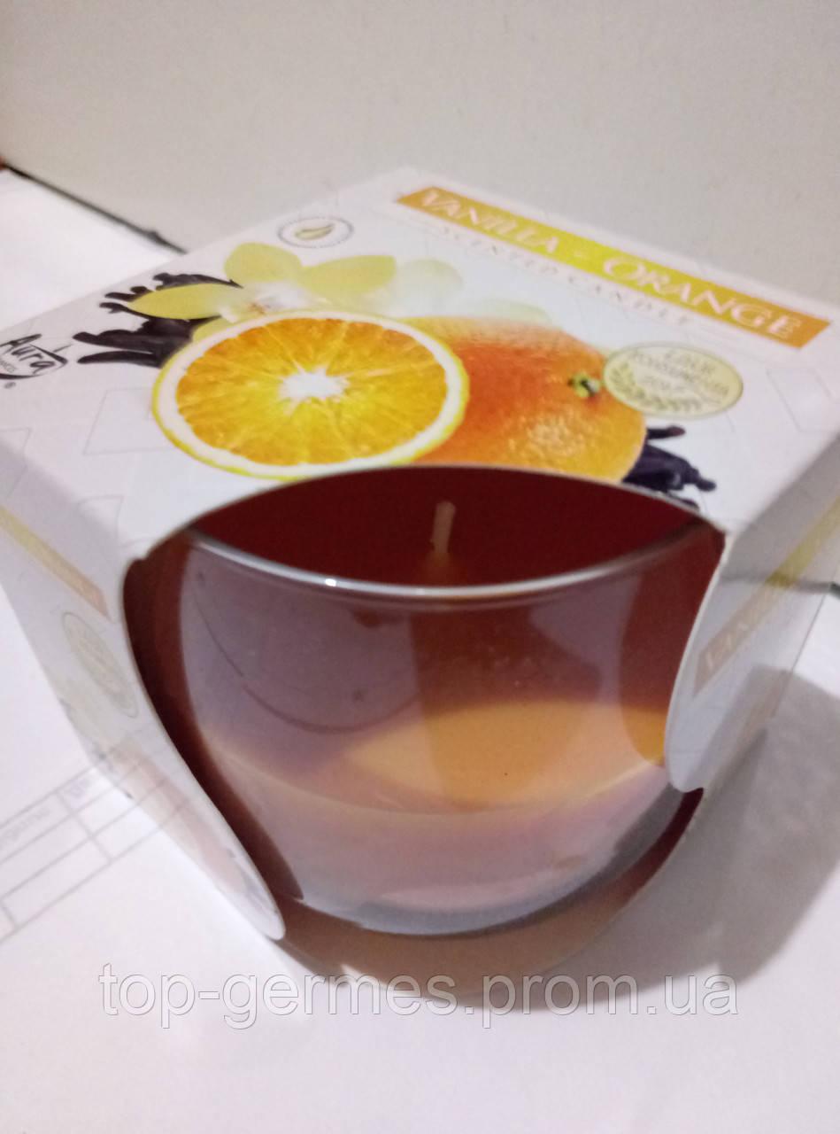 """Ароматическая свеча в стекле """"ваниль-апельсин"""""""