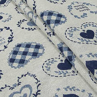 Гобелен ткань, сердечки, синий