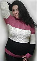 "Женский теплый свитер, удлиненный ""Арктика"" малина+синий"